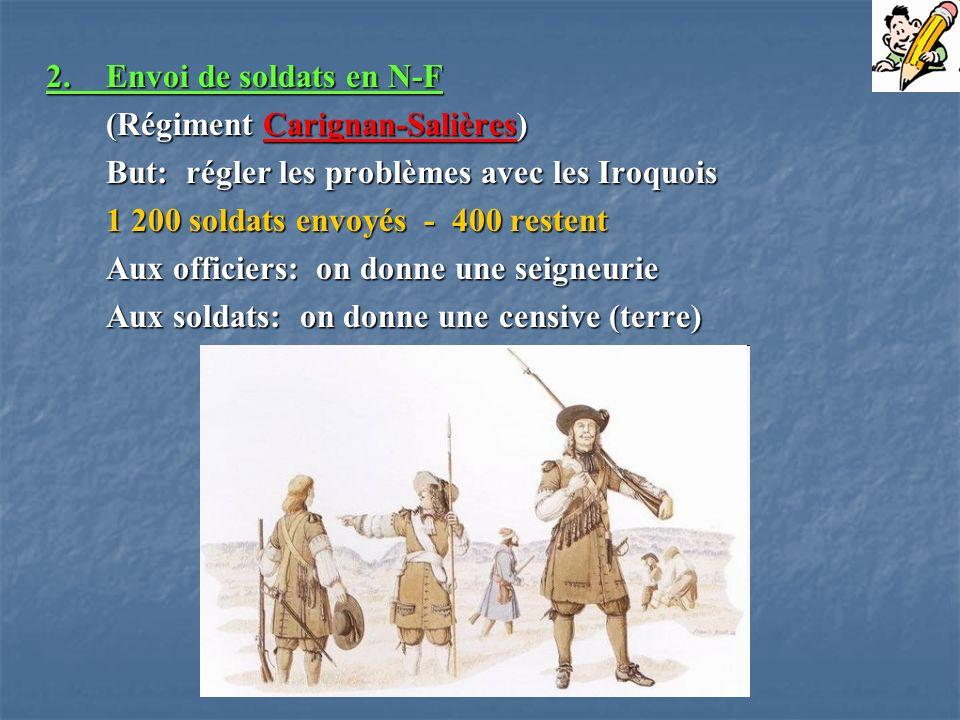 2.Envoi de soldats en N-F (Régiment Carignan-Salières) But: régler les problèmes avec les Iroquois But: régler les problèmes avec les Iroquois 1 200 s
