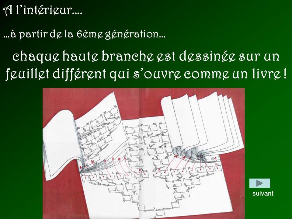 A lintérieur…. …à partir de la 6ème génération… chaque haute branche est dessinée sur un feuillet différent qui souvre comme un livre ! suivant