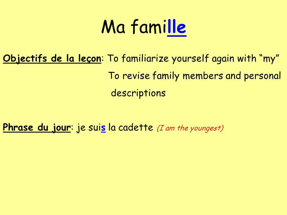 Ma famille Objectifs de la leçon: To familiarize yourself again with my To revise family members and personal descriptions Phrase du jour: je suis la