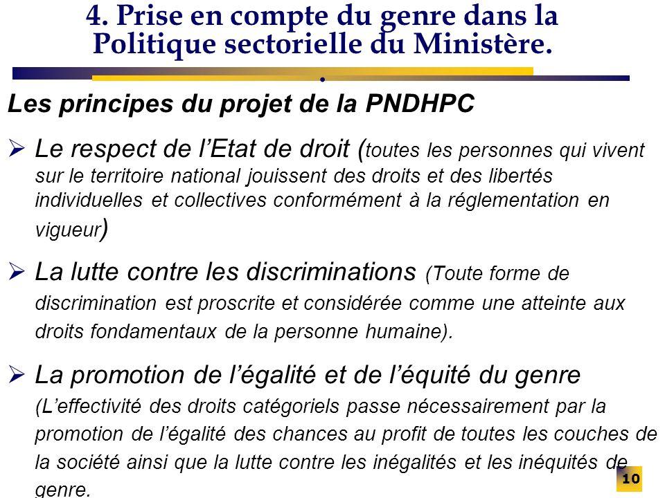 4. Prise en compte du genre dans la Politique sectorielle du Ministère.. Les principes du projet de la PNDHPC Le respect de lEtat de droit ( toutes le