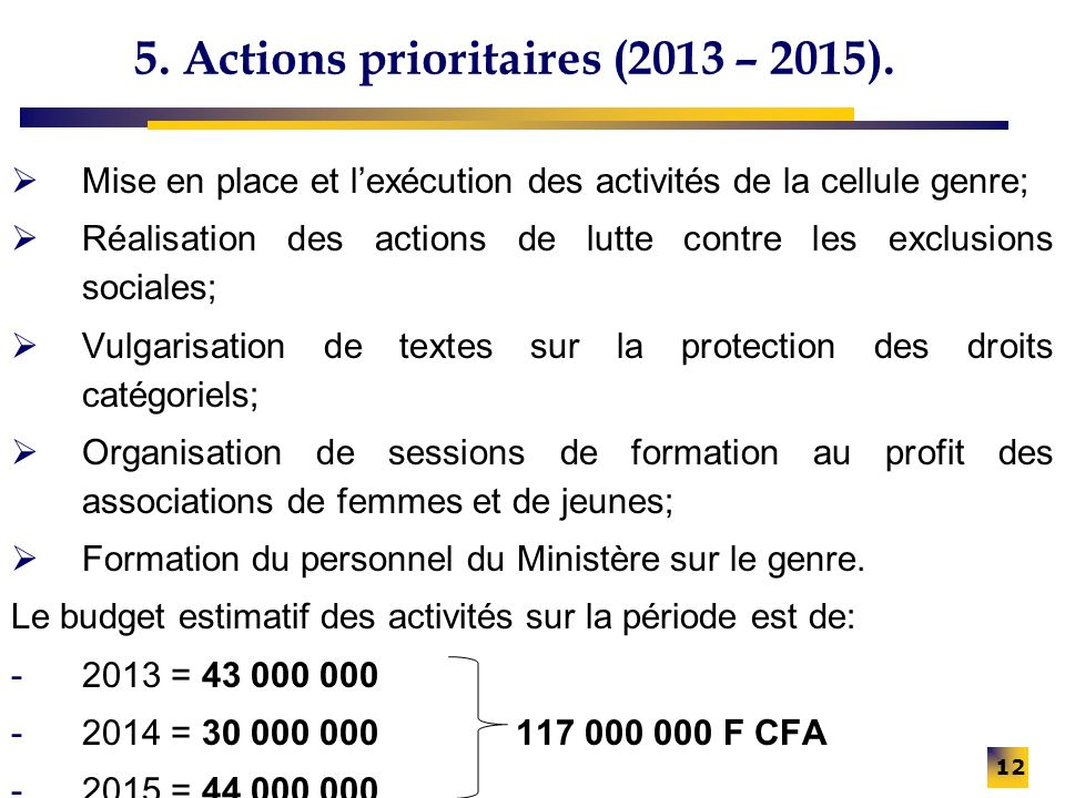 5. Actions prioritaires (2013 – 2015).