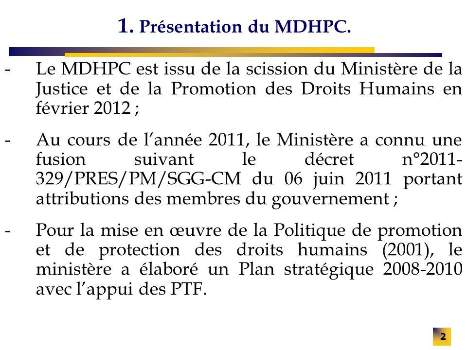 2 1. Présentation du MDHPC. -Le MDHPC est issu de la scission du Ministère de la Justice et de la Promotion des Droits Humains en février 2012 ; -Au c