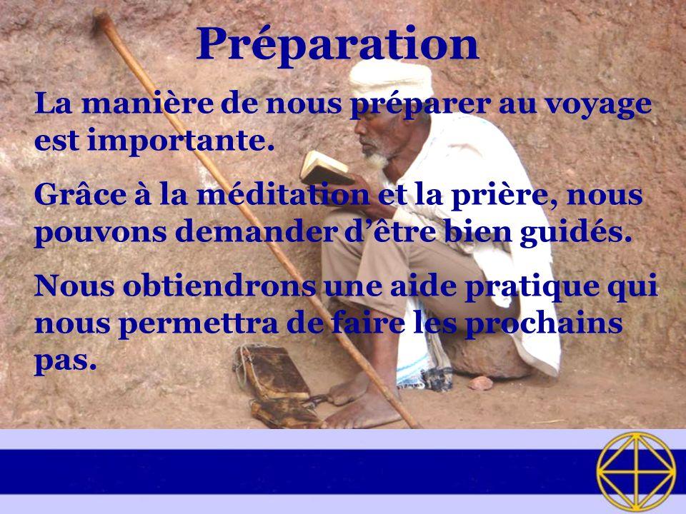 Préparation La manière de nous préparer au voyage est importante.