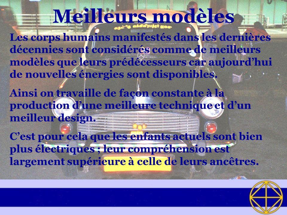 Meilleurs modèles Les corps humains manifestés dans les dernières décennies sont considérés comme de meilleurs modèles que leurs prédécesseurs car aujourdhui de nouvelles énergies sont disponibles.