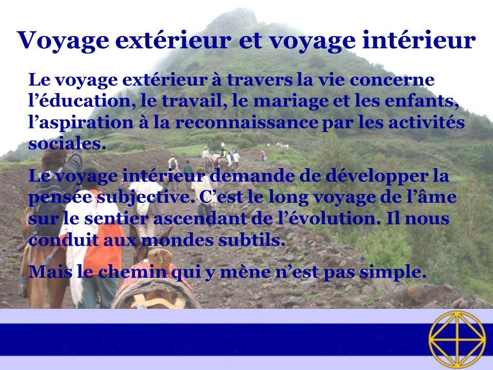 Voyage extérieur et voyage intérieur Le voyage extérieur à travers la vie concerne léducation, le travail, le mariage et les enfants, laspiration à la reconnaissance par les activités sociales.
