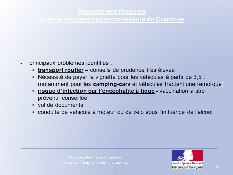 Ministère des Affaires étrangères CONSULAT GÉNÉRAL DE FRANCE À CRACOVIE 11 - principaux problèmes identifiés : transport routier – conseils de prudenc