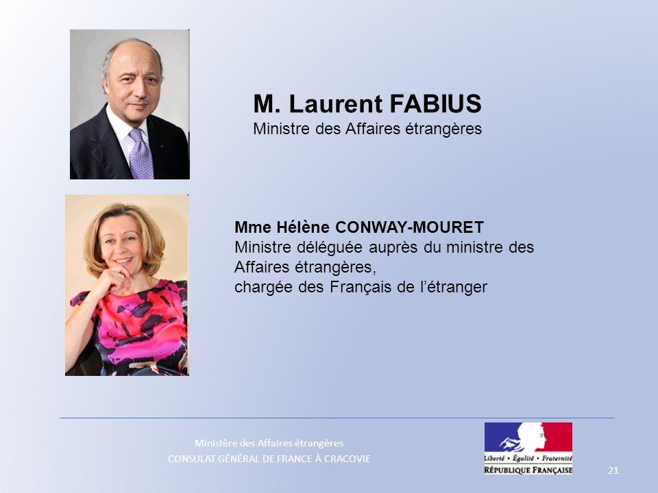 Ministère des Affaires étrangères CONSULAT GÉNÉRAL DE FRANCE À CRACOVIE 21 M. Laurent FABIUS Ministre des Affaires étrangères Mme Hélène CONWAY-MOURET