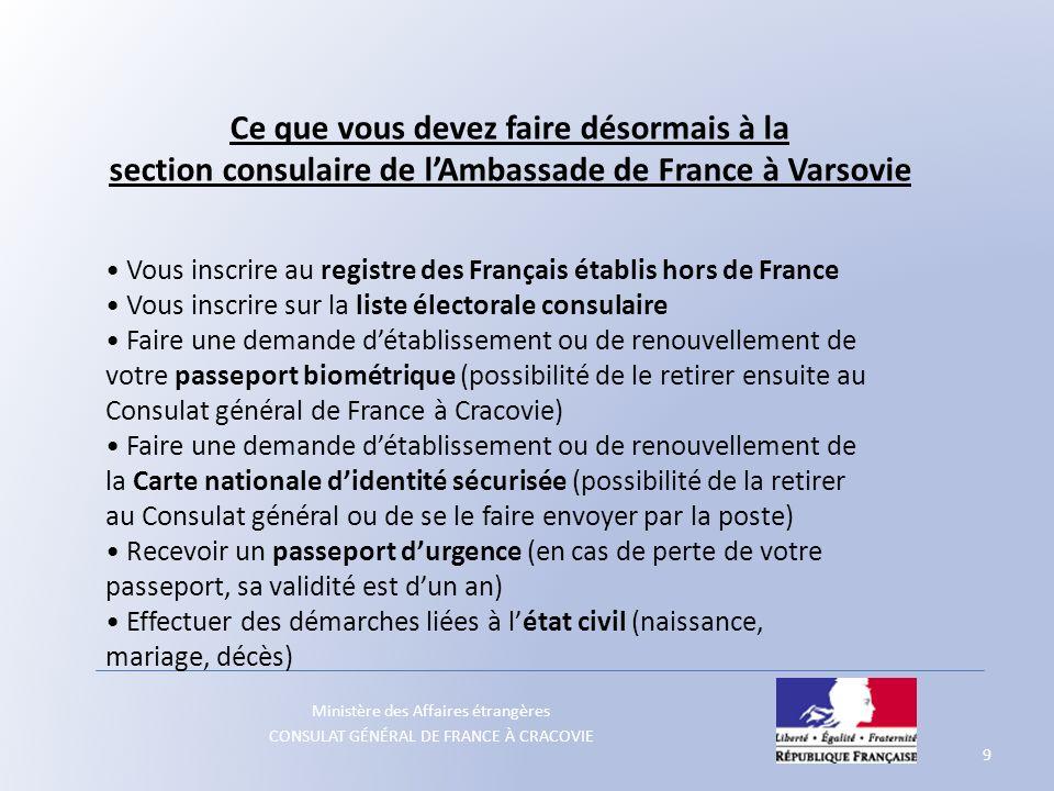 Ministère des Affaires étrangères CONSULAT GÉNÉRAL DE FRANCE À CRACOVIE Ce que vous devez faire désormais à la section consulaire de lAmbassade de Fra