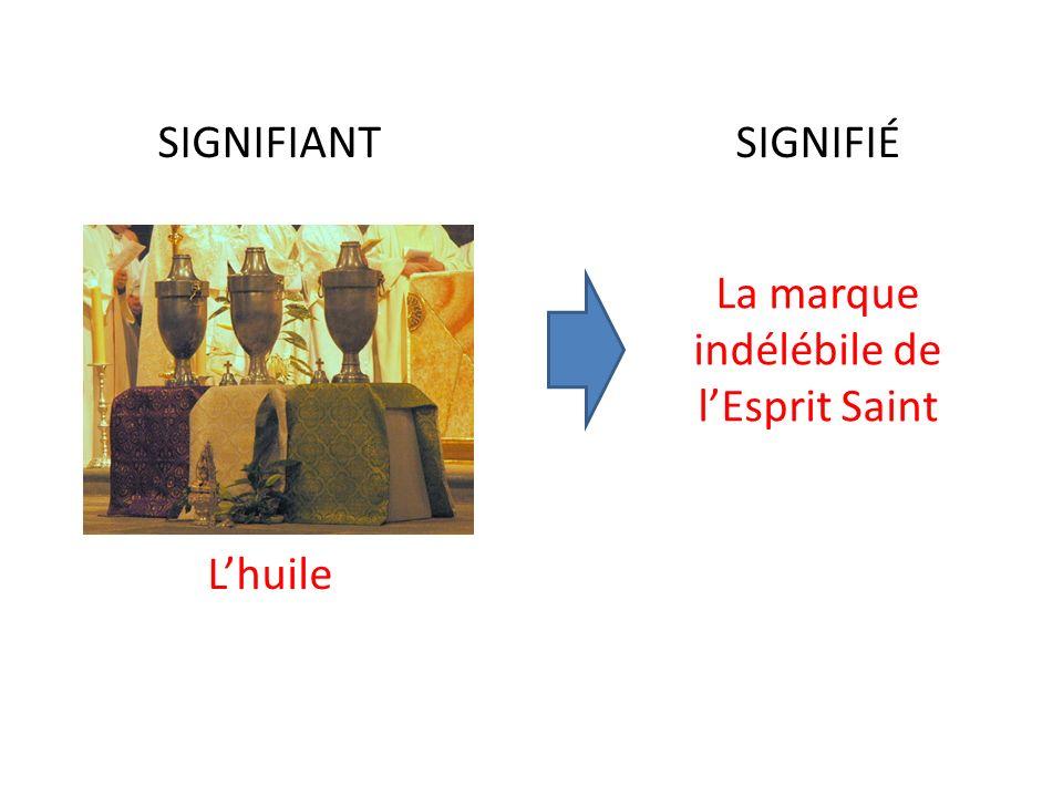 SIGNIFIANTSIGNIFIÉ Lhuile La marque indélébile de lEsprit Saint