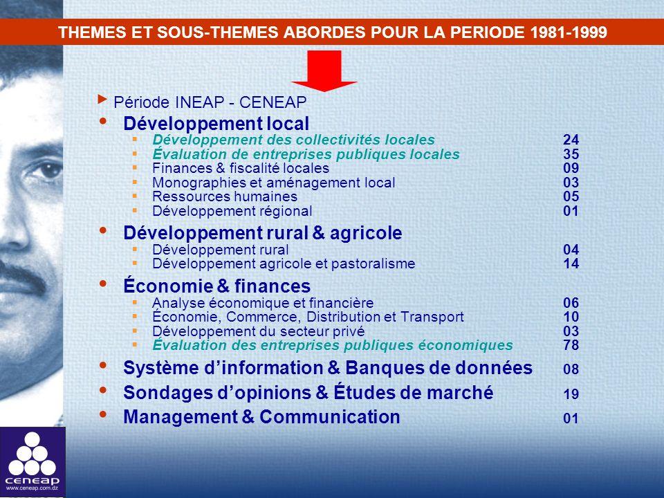 THEMES ET SOUS-THEMES ABORDES POUR LA PERIODE 1981-1999 Développement local Développement des collectivités locales 24 Évaluation de entreprises publi