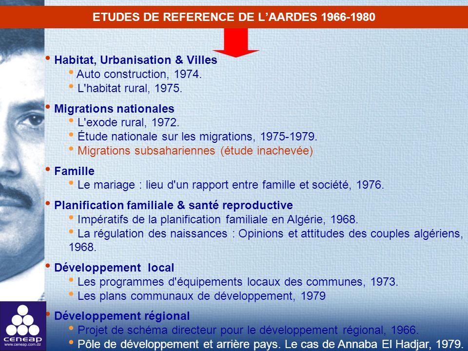 ETUDES DE REFERENCE DE LAARDES 1966-1980 Habitat, Urbanisation & Villes Auto construction, 1974. L'habitat rural, 1975. Migrations nationales L'exode