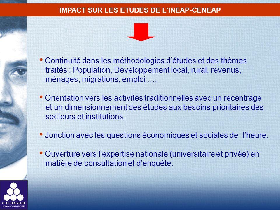 Continuité dans les méthodologies détudes et des thèmes traités : Population, Développement local, rural, revenus, ménages, migrations, emploi …. Orie