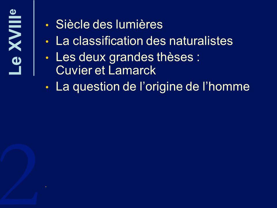2 Le XVIII e Siècle des lumières La classification des naturalistes Les deux grandes thèses : Cuvier et Lamarck La question de lorigine de lhomme