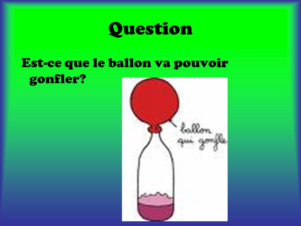 Hypothèse Notre hypothèse est que le ballon va pouvoir gonfler.