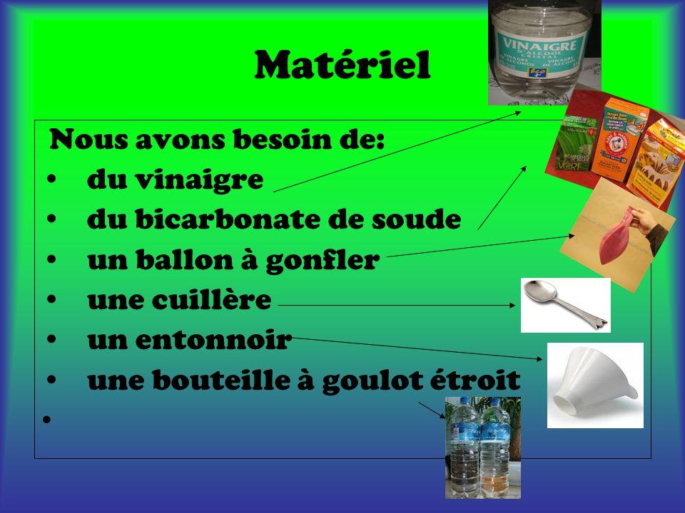 Matériel Nous avons besoin de: du vinaigre du bicarbonate de soude un ballon à gonfler une cuillère un entonnoir une bouteille à goulot étroit
