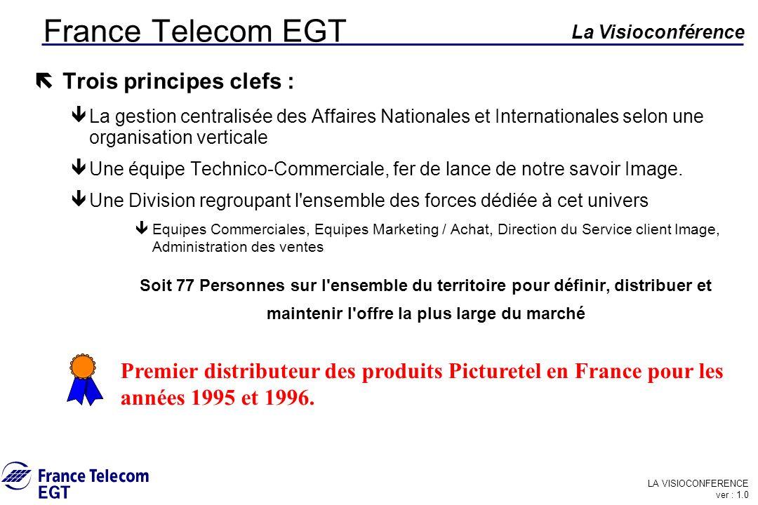 LA VISIOCONFERENCE ver : 1.0 La Visioconférence France Telecom EGT ë Trois principes clefs : êLa gestion centralisée des Affaires Nationales et Intern
