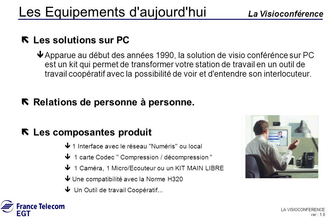 LA VISIOCONFERENCE ver : 1.0 La Visioconférence Les Equipements d'aujourd'hui ë Les solutions sur PC êApparue au début des années 1990, la solution de