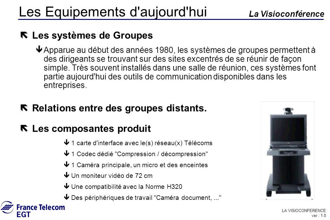 LA VISIOCONFERENCE ver : 1.0 La Visioconférence Les Equipements d'aujourd'hui ë Les systèmes de Groupes êApparue au début des années 1980, les système