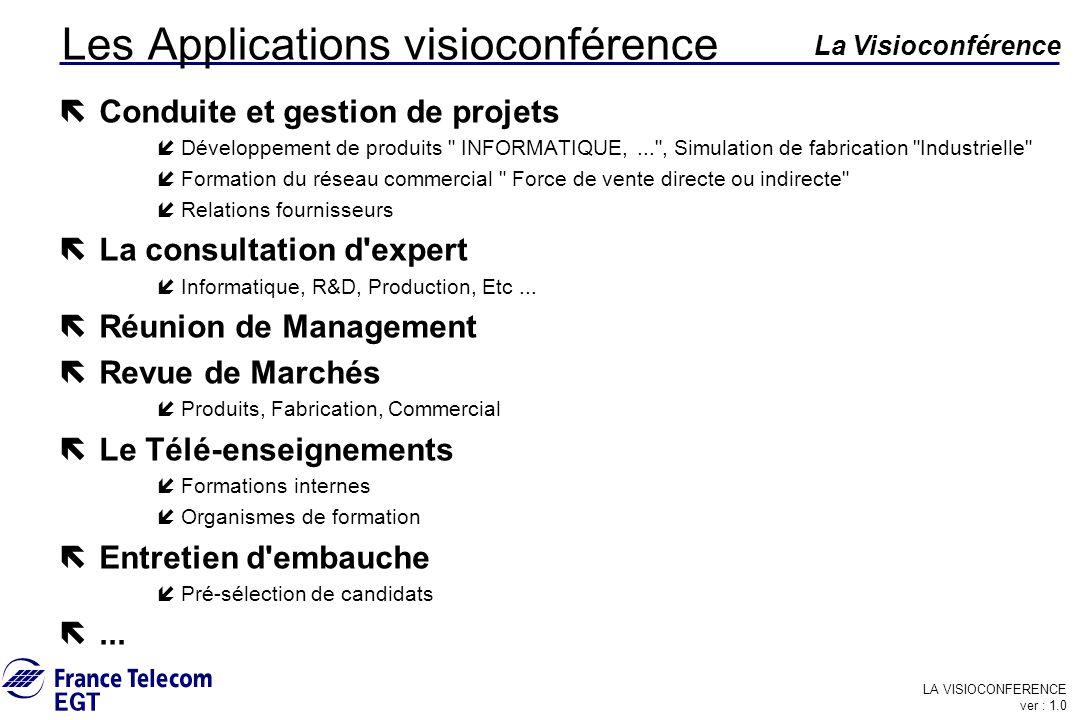 LA VISIOCONFERENCE ver : 1.0 La Visioconférence Les Applications visioconférence ë Conduite et gestion de projets íDéveloppement de produits