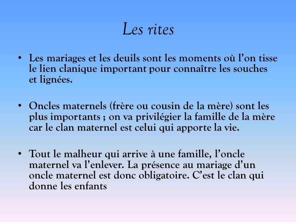 Les rites Les mariages et les deuils sont les moments où lon tisse le lien clanique important pour connaître les souches et lignées. Oncles maternels