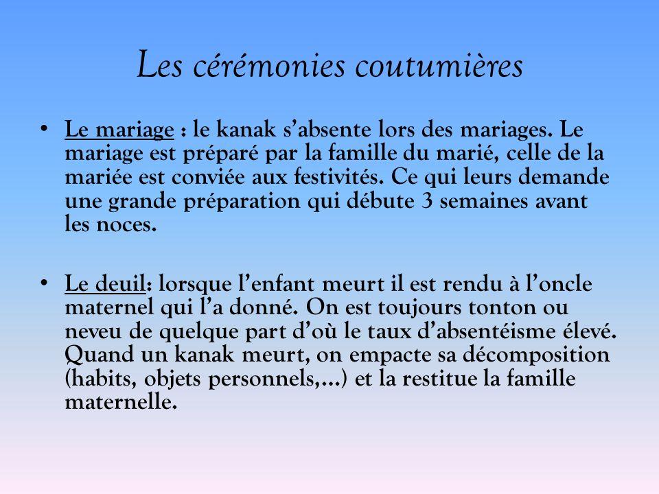 Les cérémonies coutumières Le mariage : le kanak sabsente lors des mariages. Le mariage est préparé par la famille du marié, celle de la mariée est co