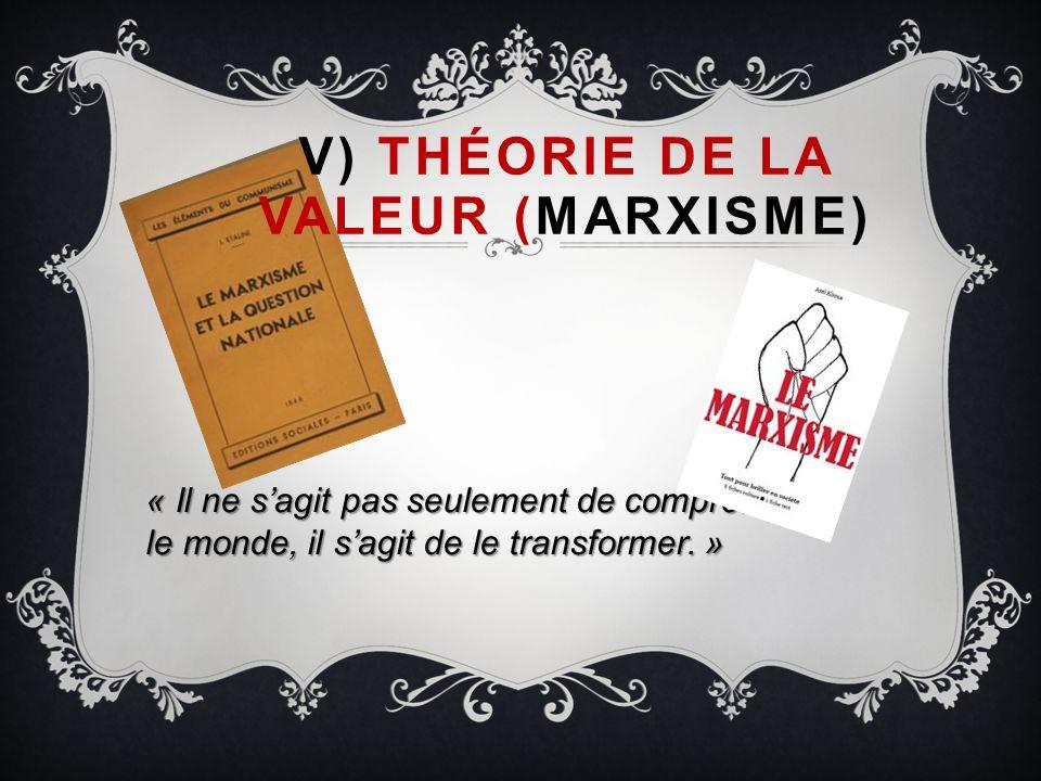 V) THÉORIE DE LA VALEUR (MARXISME) « Il ne sagit pas seulement de comprendre le monde, il sagit de le transformer. »
