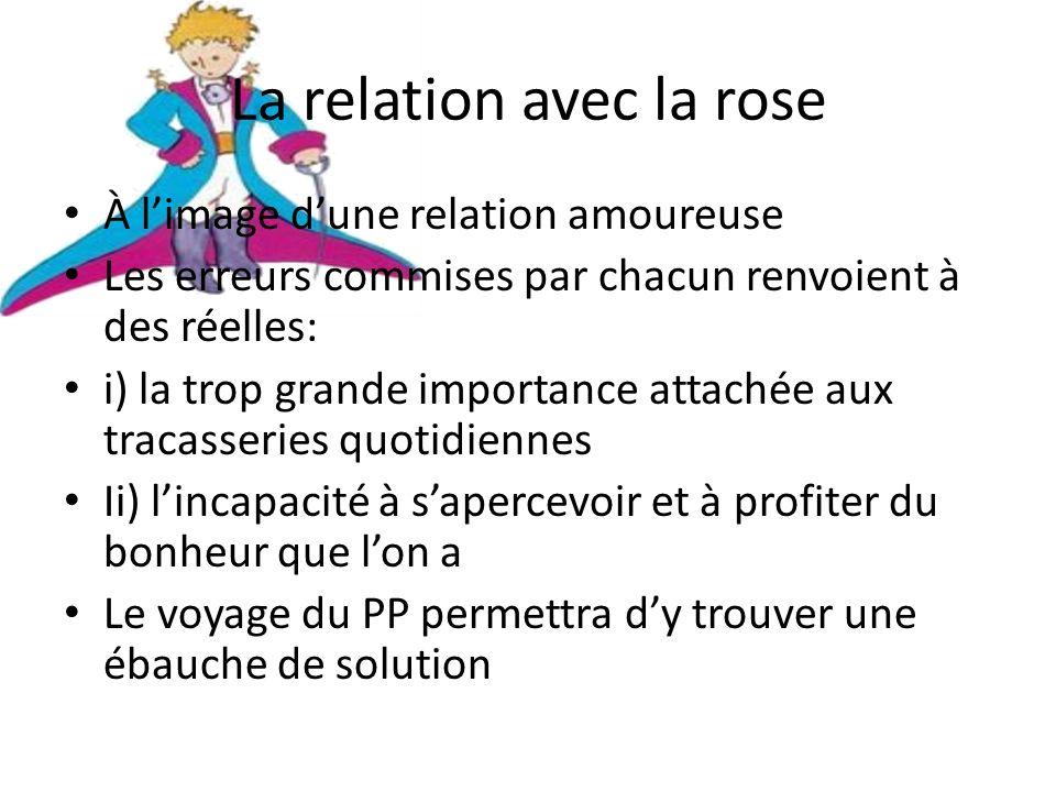 La relation avec la rose À limage dune relation amoureuse Les erreurs commises par chacun renvoient à des réelles: i) la trop grande importance attach