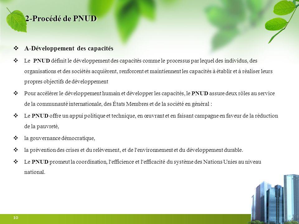 2-Procédé de PNUD A-Développement des capacités Le PNUD définit le développement des capacités comme le processus par lequel des individus, des organi