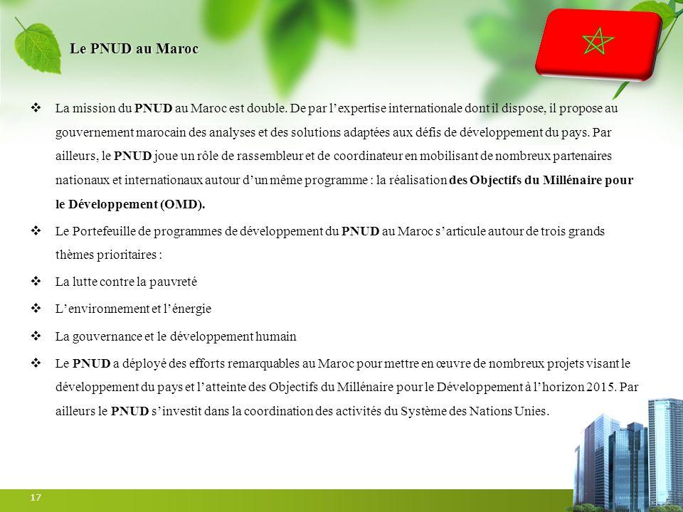 Le PNUD au Maroc La mission du PNUD au Maroc est double. De par lexpertise internationale dont il dispose, il propose au gouvernement marocain des ana