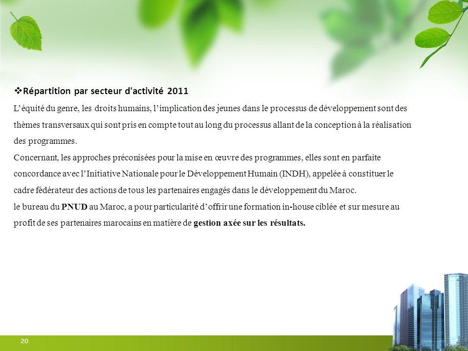 20 Répartition par secteur d'activité 2011 Léquité du genre, les droits humains, limplication des jeunes dans le processus de développement sont des t