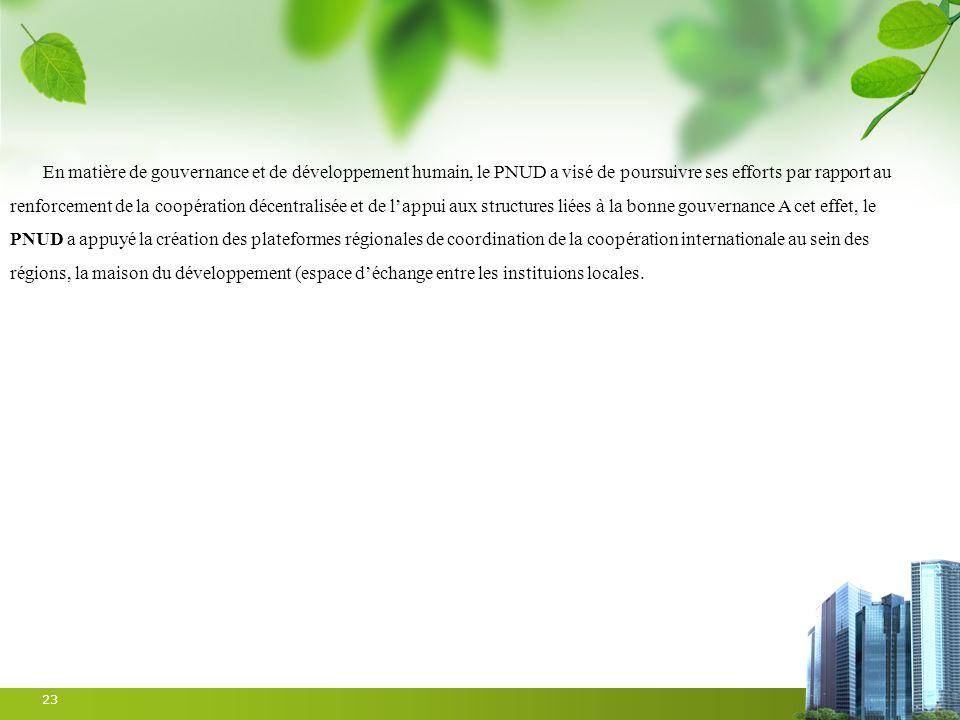 23 En matière de gouvernance et de développement humain, le PNUD a visé de poursuivre ses efforts par rapport au renforcement de la coopération décent