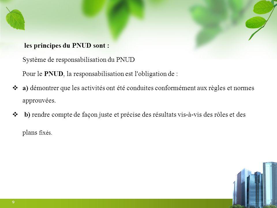 les principes du PNUD sont : Système de responsabilisation du PNUD Pour le PNUD, la responsabilisation est l'obligation de : a) démontrer que les acti