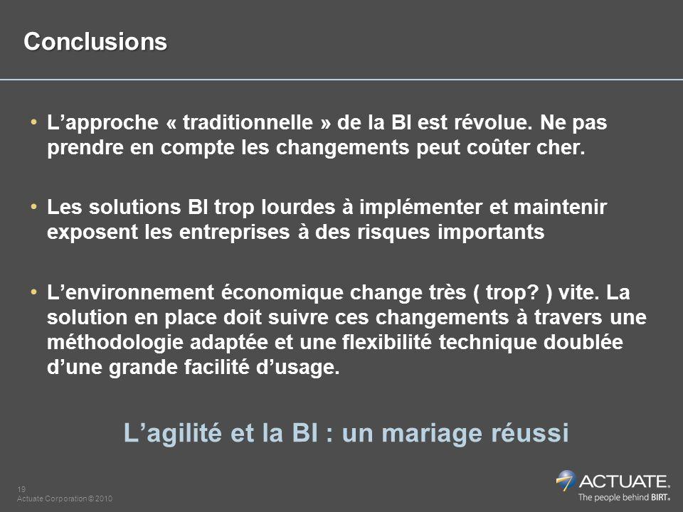 19 Actuate Corporation © 2010 Conclusions Lapproche « traditionnelle » de la BI est révolue. Ne pas prendre en compte les changements peut coûter cher