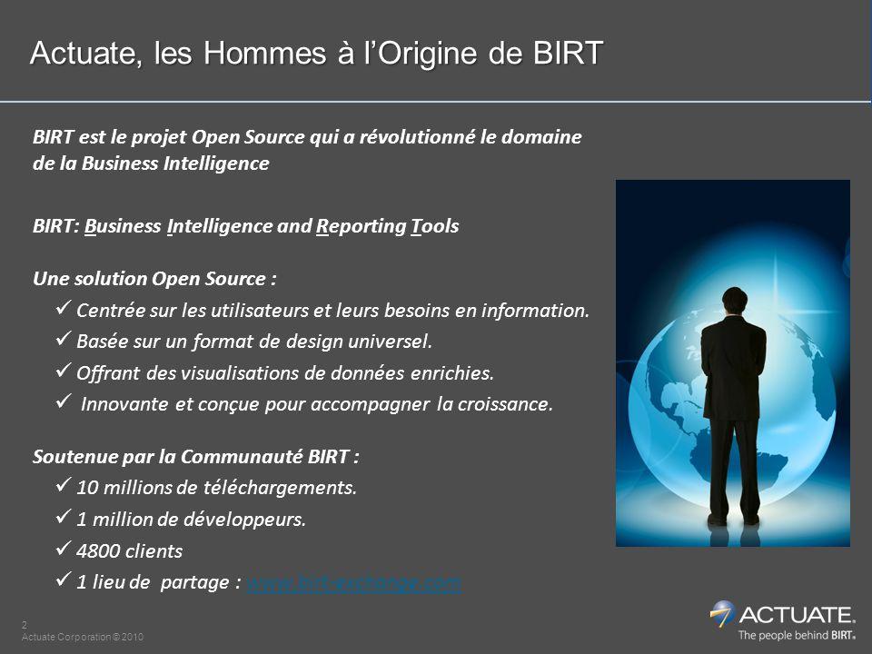 3 Actuate Corporation © 2010 Le succès de vos applications BI à travers les méthodes agiles et la facilité de collaboration de la BI Open Source