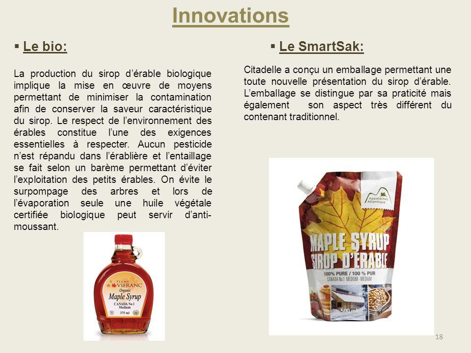 18 Innovations Le bio: Le SmartSak: La production du sirop dérable biologique implique la mise en œuvre de moyens permettant de minimiser la contamina