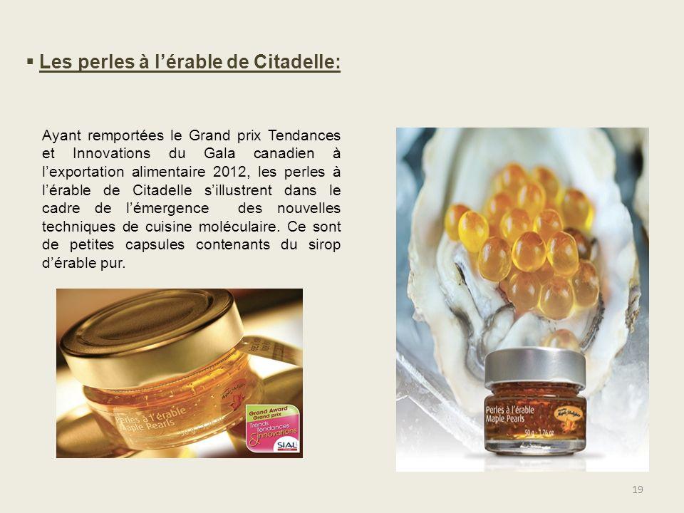 19 Ayant remportées le Grand prix Tendances et Innovations du Gala canadien à lexportation alimentaire 2012, les perles à lérable de Citadelle sillust