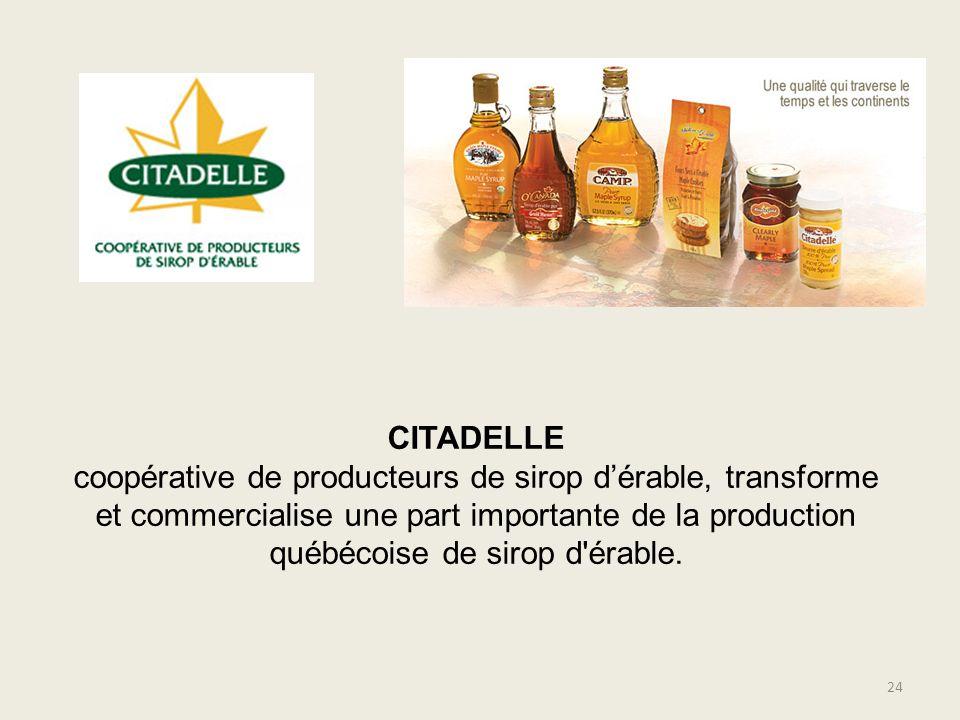 CITADELLE coopérative de producteurs de sirop dérable, transforme et commercialise une part importante de la production québécoise de sirop d'érable.