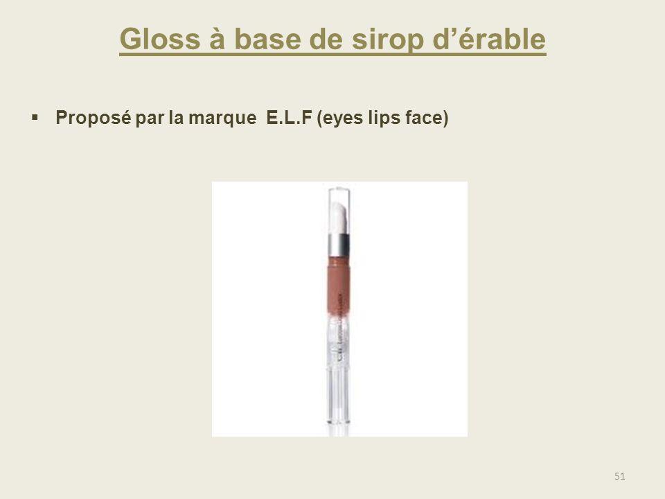 Gloss à base de sirop dérable Proposé par la marque E.L.F (eyes lips face) 51