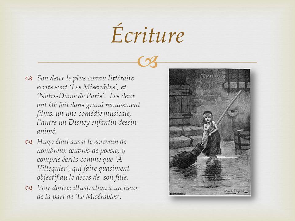 Écriture Son deux le plus connu littéraire écrits sont Les Misérables, et Notre-Dame de Paris. Les deux ont été fait dans grand mouvement films, un un