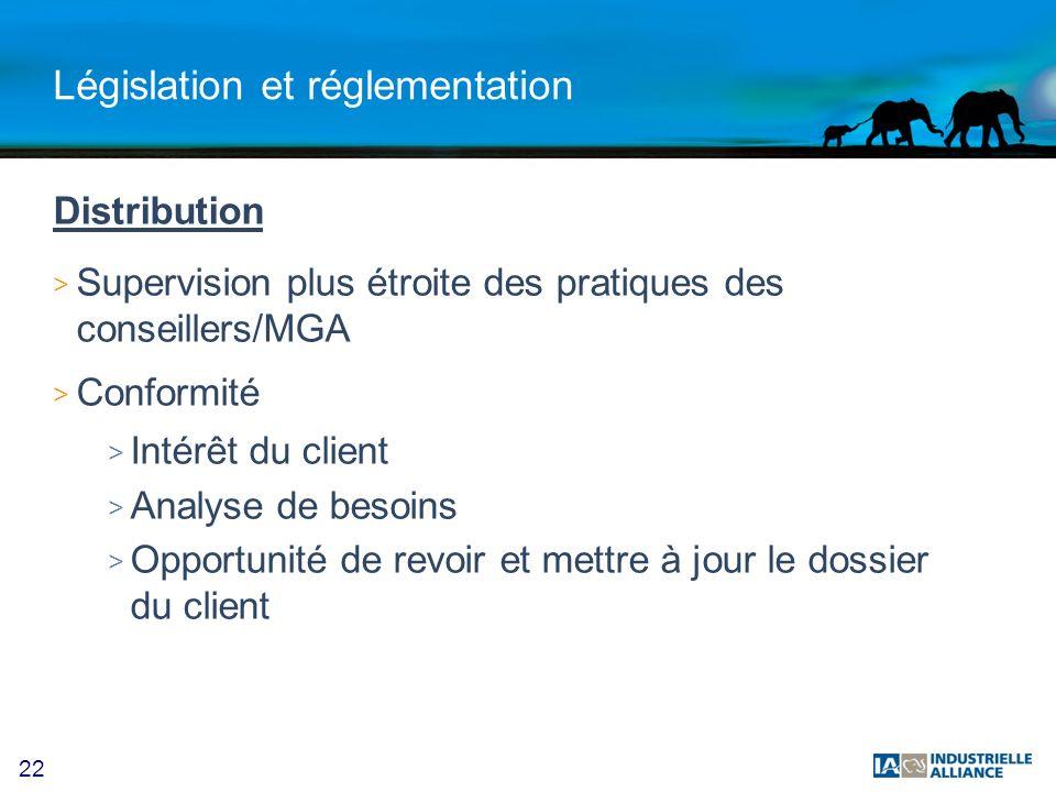 22 Législation et réglementation Distribution > Supervision plus étroite des pratiques des conseillers/MGA > Conformité > Intérêt du client > Analyse