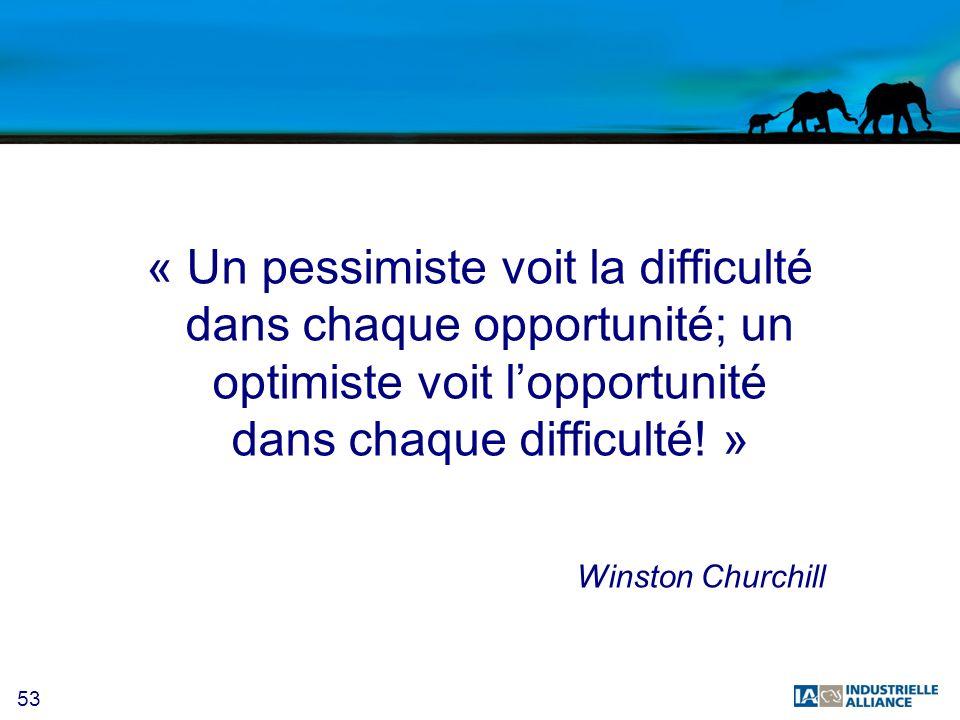 53 « Un pessimiste voit la difficulté dans chaque opportunité; un optimiste voit lopportunité dans chaque difficulté! » Winston Churchill