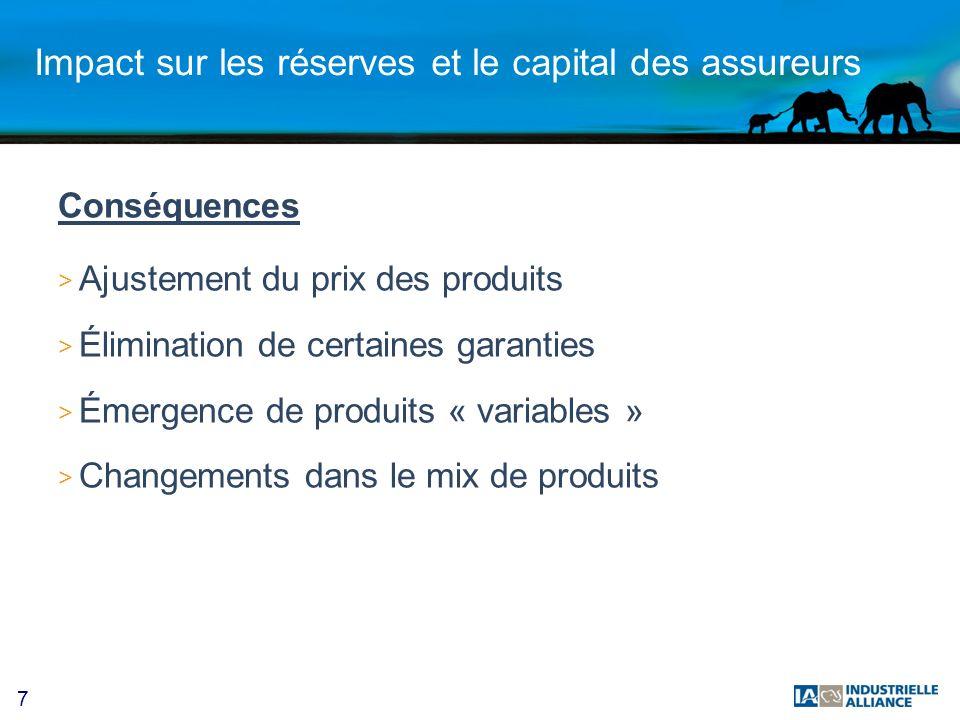 7 Impact sur les réserves et le capital des assureurs Conséquences > Ajustement du prix des produits > Élimination de certaines garanties > Émergence de produits « variables » > Changements dans le mix de produits