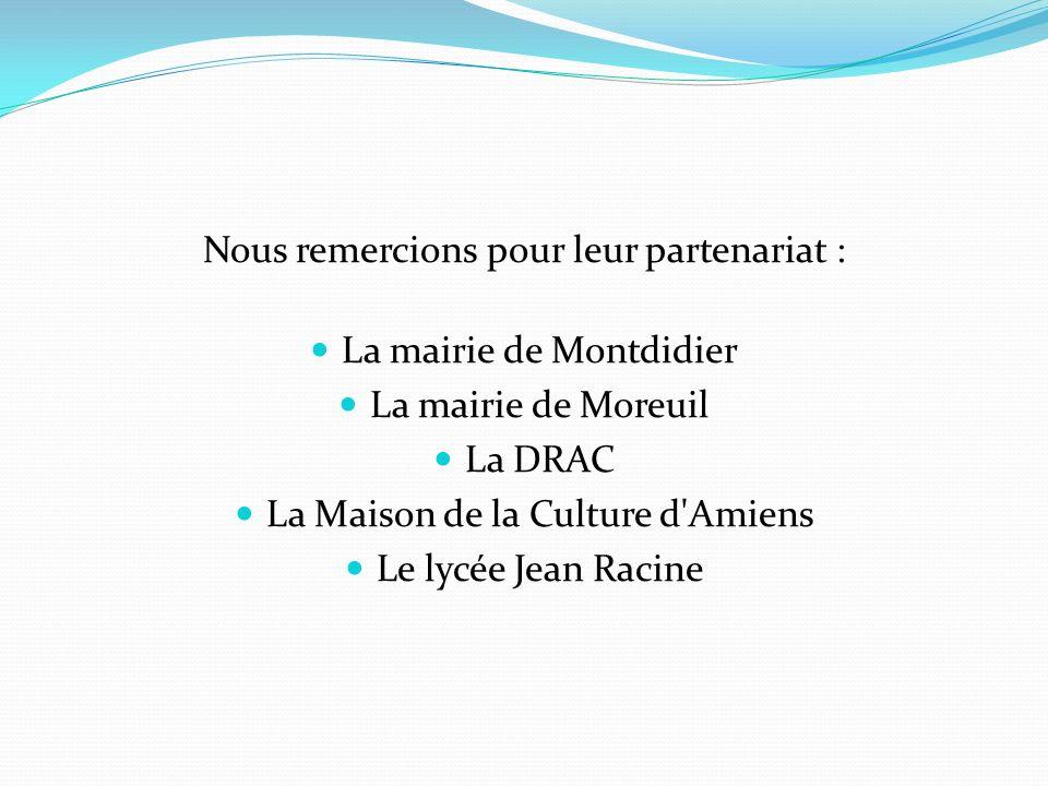 Nous remercions pour leur partenariat : La mairie de Montdidier La mairie de Moreuil La DRAC La Maison de la Culture d'Amiens Le lycée Jean Racine