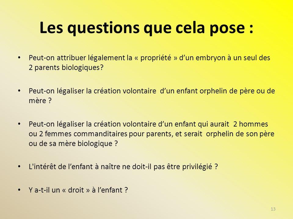 Les questions que cela pose : Peut-on attribuer légalement la « propriété » dun embryon à un seul des 2 parents biologiques? Peut-on légaliser la créa