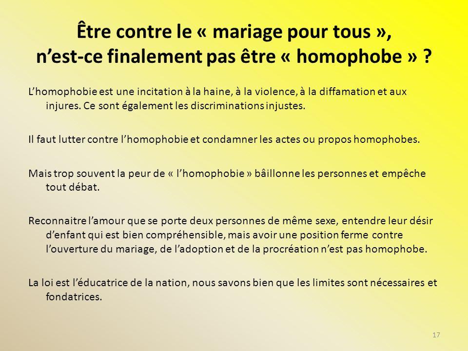 Être contre le « mariage pour tous », nest-ce finalement pas être « homophobe » ? Lhomophobie est une incitation à la haine, à la violence, à la diffa