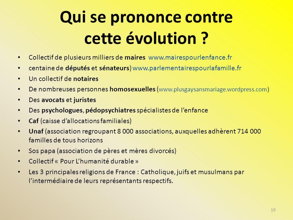 Qui se prononce contre cette évolution ? Collectif de plusieurs milliers de maires www.mairespourlenfance.fr centaine de députés et sénateurs) www.par