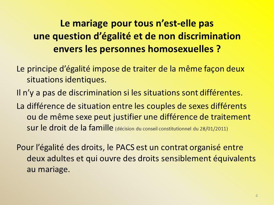 Le mariage pour tous nest-elle pas une question dégalité et de non discrimination envers les personnes homosexuelles ? Le principe dégalité impose de