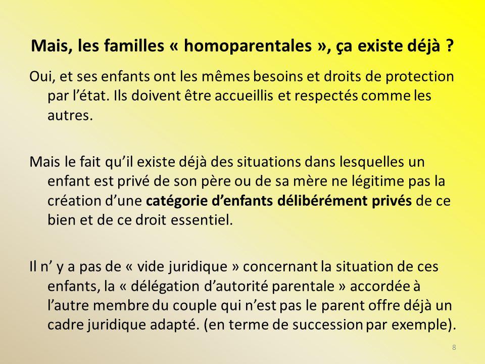Mais, les familles « homoparentales », ça existe déjà ? Oui, et ses enfants ont les mêmes besoins et droits de protection par létat. Ils doivent être