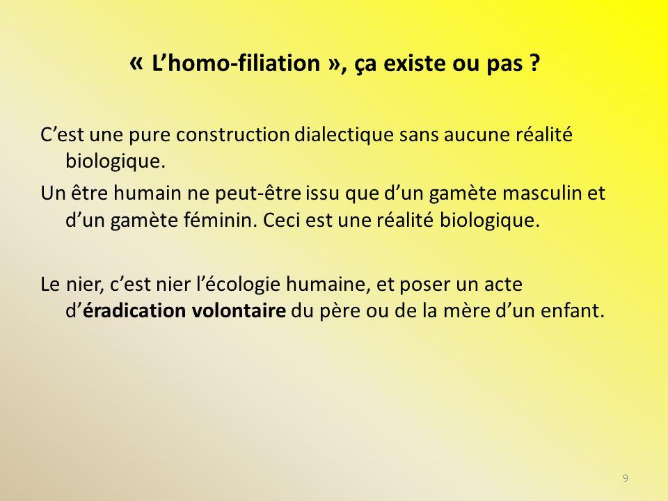 « Lhomo-filiation », ça existe ou pas ? Cest une pure construction dialectique sans aucune réalité biologique. Un être humain ne peut-être issu que du