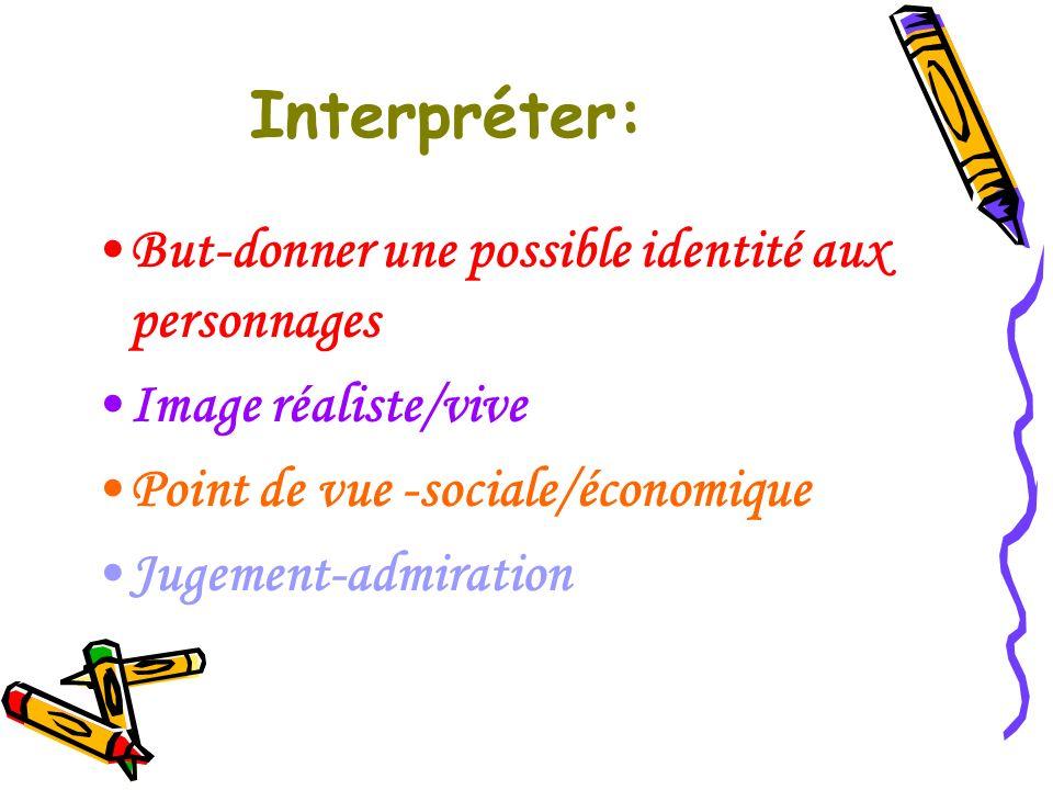 Interpréter: But-donner une possible identité aux personnages Image réaliste/vive Point de vue -sociale/économique Jugement-admiration